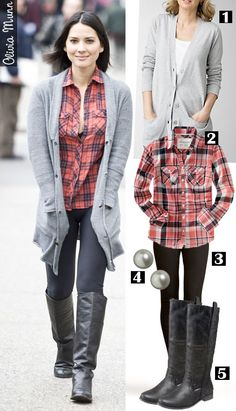 Dress by Number: Olivia Munn's Boyfriend Cardigan and Riding Boots - The Budget Babe