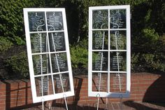 With old vintage painted windows. Wedding Seating Display, Seating Charts, 1, Outdoor Structures, Windows, Events, Gallery, Creative, Pretty