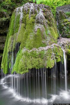 The water on this waterfall in Romania rolls off of a green carpet of moss that covers the rock formation — which results in a magically soft display, much unlike a roaring waterfalls. Who knew Mother Nature had so many tricks up her sleeve? Beautiful Waterfalls, Beautiful Landscapes, Natural Waterfalls, Cascade Falls, Nature Landscape, Nature Nature, Landscape Photos, Beauty Of Nature, Green Nature