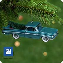 The 7th ornament in Hallmark's All-American Trucks series, this 1959 Chevrolet El Camino was produced in 2001.