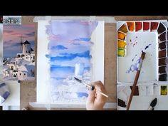 수채화로 풍경 그리기 - 산토리니섬 1편 - YouTube