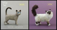 A generic dollhouse miniature plastic model cat was radically transformed into this fluffy Birman cat using paint, a wee bit of carving, glue, & brushed alpaca yarn...