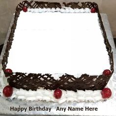 Birthday Three Layer Cake Image With Name And Photo Plain Birthday Cake, Happy Birthday Flower Cake, Birthday Cake Write Name, Birthday Card With Name, Happy Birthday Cake Photo, Birthday Cake Writing, Birthday Photo Frame, Birthday Wishes Cake, Happy Birthday Celebration