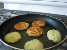 Zuchinni Pancakes   So very good. It's a delicious side item! Takes a bit of practice to get these exactly right but well worth it!