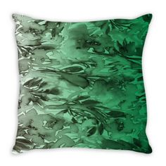 FLORAL DESTINY GREEN OMBRE Decorative Fine Art Suede Throw Pillow Cushion Cover Emerald Green Greenery Gray by EbiEmporium, #colorful #Pantone2017 #Pantone #ColoroftheYear #Greenery #ombre #homedecor #pillow #cushion #throwpillow #pillowcover #suede #EbiEmporium #decor