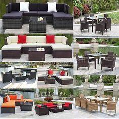 Patio And Garden Furniture Sets 139849: Ikayaa Patio Sectional Sofa Set  Outdoor Dinning Table Set