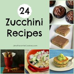 24 Zucchini Recipes from JensFavoriteCookies.com  - get some ideas for what to do with all your harvested zucchini!