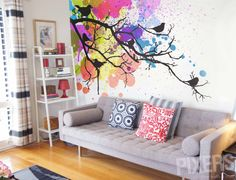 Vinyl Premium Wall Mural by PIXERSIZE.COM - such a wall mural is a durable material that will transform your living room and will protect your wall. Here, with a painting-like motive with birds!