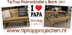 Top tip van TipTop voor vaderdag :-). Opvouwbare picknicktafel & bank 2in1... in 3 seconden van tuinbank naar tafel. Een inklapbare picknicktafel dus... of een uitklapbare tuinbank :-) Voor meer info : www.tiptopprojecten.nl