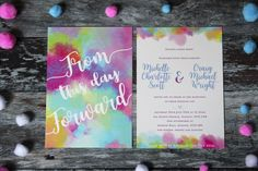 Colourful wedding invitation, rainbow wedding invite, bright wedding invite, colourful wedding stationery suite, watercolour wedding by ILoveandLove on Etsy https://www.etsy.com/ie/listing/539053175/colourful-wedding-invitation-rainbow