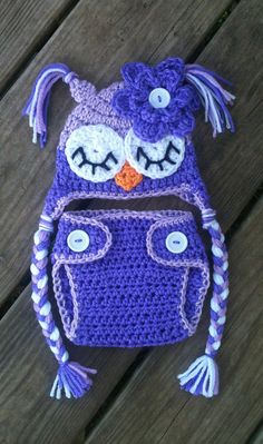 Newborn Baby Girl Sleepy Crochet OWL Purple Diaper by shayahjane, $30.00