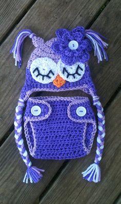 Newborn Baby Girl Sleepy Crochet OWL Purple Diaper Cover -n- Beanie Hat Set -- Cute Photo Prop