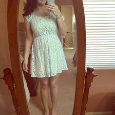 Lace dress White lace with a muted lime slip underneath.  Good condition. Dresses