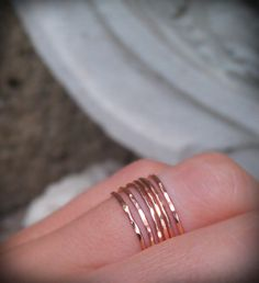 Hammered Stack Rings- Rose Gold Filled set of 3 hammered rings. $27.00, via Etsy.