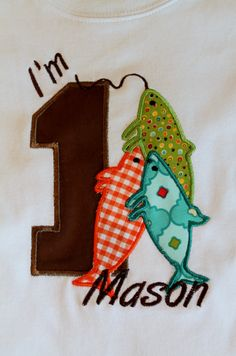 Fish  Birthday Shirt with number and three fish.  100% cotton frilly tshirt for girls and plain tshirt for  boys