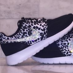 Bling Swarovski Crystal Nike Cheetah Roshe *Note that these Nike's are manufactured in Girls Grade School Size 5.0 youth. Subtract 1.5 from your normal women's size to get your size in Girl's. Ex: Women's 6.5 = Girls 5.0 youth   Don't be misled by others who claim they use Swarovski crystals. I only use the highest quality Swarovski crystals purchased from verified Swarovski dealers. Each pair of shoes has $45 worth of Swarovski Crystals on them (Outside Nike check only). Shoes are…