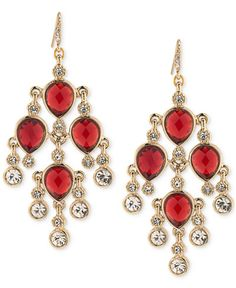 Bold 4 gold with red crystal quinceanera sweet 16 or prom carolee gold tone red stone and crystal chandelier earrings aloadofball Choice Image