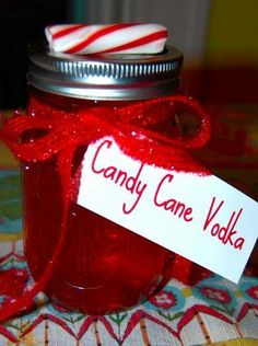 "Candy cane Vodka! Making any infused vodka is always done the same way add your ""flavor"" could be fruit, spices like cinnamon or candy in a bottle or mason jar , pour vodka (doesnt need to be a good brand for infusions) and shake every couple days Most infusions taste the best after sitting for 2 weeks  Then pour your vodka through a coffee filter (or if using things like cinnamon sticks or candy canes or fruit that doesnt break down just take them out) and done"