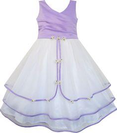 Sunny Fashion Flower Girl Dress Purple Wedding Bridesmaid Pageant Kids Size 7-14 #SunnyFashion #Wedding