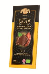 Chocolate negro con cacao. 100 gr. Contenido cacao: 61%. Chocolate biológico y de Comercio Justo con habas de cacao caramelizadas. Explosión de cacao en cada tableta.