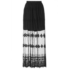 TOPSHOP **Crochet Trim Maxi Skirt by Glamorous ($24) ❤ liked on Polyvore featuring skirts, bottoms, black, see through skirt, transparent maxi skirt, sheer maxi skirt, sheer skirt and ankle length skirt
