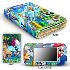 Wii U Console & Controller Protector Skin Sticker - Super Mario Bros U