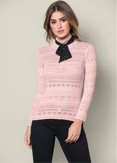 Venus Women s Bow Detail Turtleneck Sweaters Summer Outfit For Teen Girls 14eb1cebb