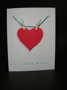 i love you clothesline card by JellybeanArtCards on Etsy