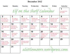 Elf on the Shelf 2012 Calendar | A Little Moore