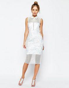 ASOS SALON Mesh Collar Midi Dress