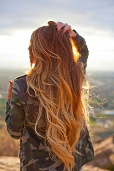 long hair, red and blonde hair ombre