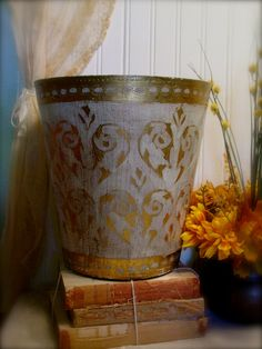 Vintage Florentine Waste Basket  Trash Bin  by EdenCoveTreasures, $48.00