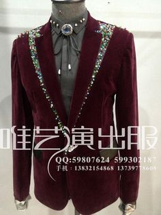 2015 fashion men slim blazer rhinestone jacket Male singer DJ nightclub  party performace show costume velvet dff8882143bd