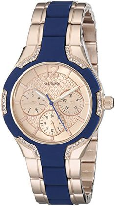 GUESS Women's U0556L5 Stainless Steel Rose Gold-Tone & Blue Multi-Function Watch with Day, Date, Int'l Time & Genuine Crystals GUESS http://www.amazon.com/dp/B00PUDO0YO/ref=cm_sw_r_pi_dp_JcbDvb0RX6QST