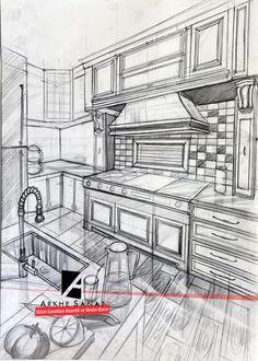 Interior Design Sketches, Interior Rendering, Pencil Sketches Architecture, Drawing Architecture, Pencil Art Drawings, Art Drawings Sketches, Perspective Sketch, Point Perspective, Visualisation