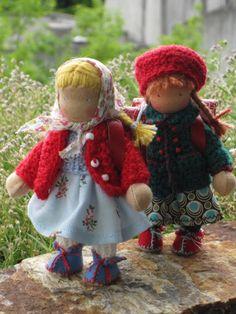 Two tiny School Girls Dollhouse Family, Dollhouse Dolls, Girl Dolls, Baby Dolls, Waldorf Toys, Sewing Dolls, New Dolls, Knitted Dolls, Soft Dolls