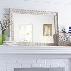 Ornate Ivory Framed Mirror, 31x43 in.