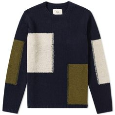 Buy the Folk Interference Crew Knit in Navy from leading mens fashion retailer END. Mens Fashion Sweaters, Men Sweater, Folk Clothing, Casual Wear For Men, Knitting Designs, Winter Wear, Wool Blend, Knitwear, Shirts