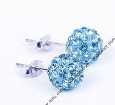 9x9mm Sea Blue Clay Pave Disco Ball Czech Crystal Ear Stud 925 Sterling Silver Earrings #eozy