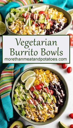 Vegetarian Burrito, Tasty Vegetarian Recipes, Vegetarian Recipes Dinner, Vegan Dinners, Veggie Recipes, Mexican Food Recipes, Cooking Recipes, Healthy Recipes, Vegetarian Rice Bowl Recipe