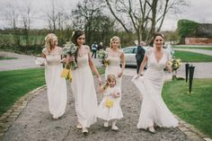 White Crochet Bridesmaid Dresses Long Charming Rustic Home Made Yellow Barn Wedding http://www.darrengairphotography.co.uk/