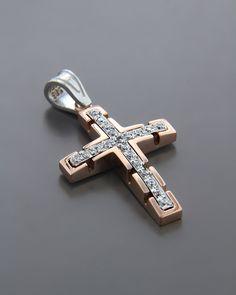 Σταυρός βάπτισης ροζ χρυσός & λευκόχρυσος K14 με Ζιργκόν | eleftheriouonline.gr Gents Ring, Jewelry Accessories, Jewelry Design, Fashion Jewelry, Women Jewelry, Christian Symbols, Cross Jewelry, Luxury Watches For Men, Cross Pendant