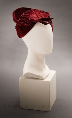 ~Headwrap style hat Blanche and Simone Silk velvet~ FIDM Museum Purchase 360 Lace Wig, Lace Wigs, 1930s Fashion, Vintage Fashion, Velvet Hat, Red Velvet, Head Wrap Scarf, Fancy Hats, Shops