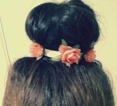 #hair #bun #flower #beauty #brunette