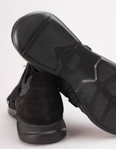 These black and grey woven knit Holloway trainers have suede trims to the toe caps and heel trims as well as prominent external lace up fronts. Balenciaga, Trainers, Black And Grey, Footwear, Lace Up, Knitting, Heels, Sneakers, Clothing