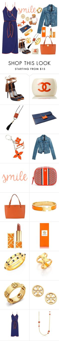 """Orange & Navy"" by ellenfischerbeauty ❤ liked on Polyvore featuring Pierre Hardy, Chanel, Yves Saint Laurent, NOVICA, Louis Vuitton, White House Black Market, Tory Burch and Hermès"