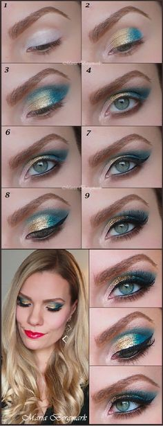 Gold & Turquoise glitter eyeshadow tutorial.
