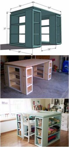 Creative Ideas DIY Modern Craft Table: 15 Craft Room Organization Ideas on a Budget are so Easy! Furniture Projects, Home Projects, Home Crafts, Diy Home Decor, Table Furniture, Furniture Online, Furniture Stores, Diy Furniture On A Budget, Modern Furniture