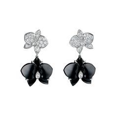 Caresse d'orchidées par Cartier earrings - White gold, diamonds, onyx - Fine Earrings for women - Cartier