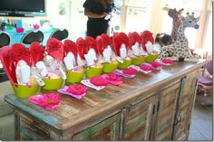 spa birthday party ideas for girls | Spa goodie tubs for the girls. Flip flops, mirror, face towel, cupcake ...
